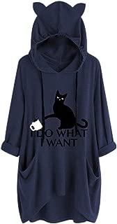 OULSEN Plus Size Women Hoodies Black Cat Pattern Print Cat Ear Splice Hooded Sweatshirt Loose Pullover Blouse Top