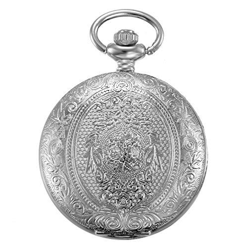 JewelryWe Vintage 24H Taschenuhr Retro Blumen Muster Herren Unisex Kettenuhr Analog Quarz Uhr mit Halskette Kette Pocket Watch Geschenk Silber