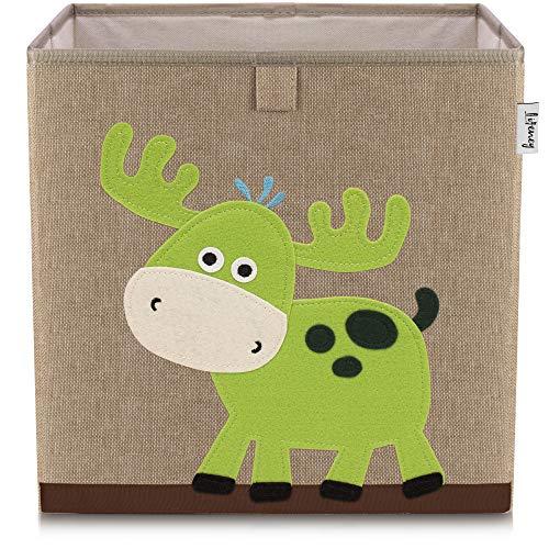 Lifeney Kinder Aufbewahrungsbox I praktische Aufbewahrungsbox für jedes Kinderzimmer I Kinder Spielkiste I Niedliche Spielzeugbox I Korb zur Aufbewahrung von Kinder Spielsachen (Hirsch dunkel)