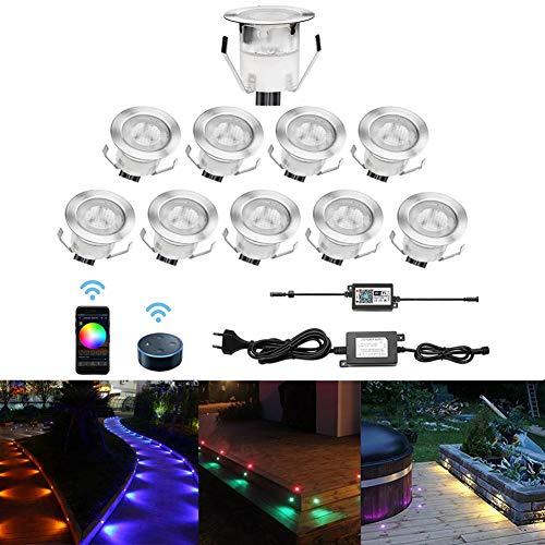 CHNXU 10er Set LED Bodeneinbauleuchte, WiFi RGB LED Einbaustrahler Steuerbar via App, IP67 Wasserdicht Außen Boden Lampe DC12V Ø30mm Treppen Einbaustrahler Kompatibel mit Amazon Alexa, Google Home