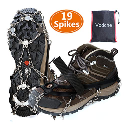 Vodche Crampons Ice Cleats Traction Snow Grips for Boots Shoes AntiSlip 19 Spikes Stainless Steel Spikes Microspikes Safe Protect for Walking Jogging Climbing and Hiking BlackXL
