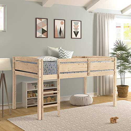Twin Loft Bed for Kids with Ladder, Wood Kids Low Loft Bed Frame