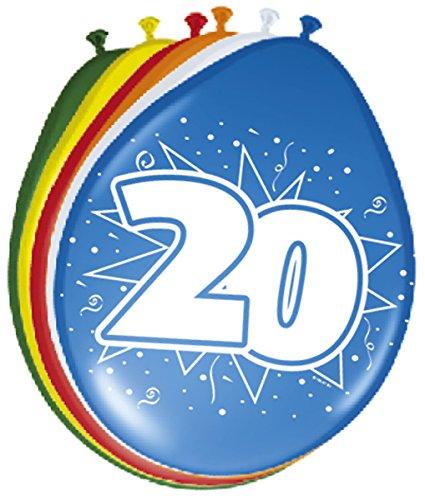 Folat 08222 20. Geburtstag Ballons 30 cm-8 Stück, Mehrfarbig