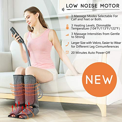 Leg Massager for Circulation with Heat, Air Compression Foot Massage Handheld Controller with 3 Mode 3 Intensities Calf Massage for Foot Circulation and Relaxation Father's Day Gifts for Women (black)