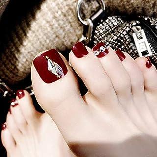 IYOU Moda Uñas postizas Vino rojo Bling Rhinestone Uñas falsas para dedos de los pies Uñas acrílicas Consejos de arte para mujeres y niñas (24 piezas)