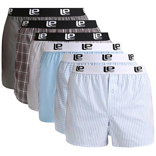 Lower East Herren American Boxershorts mit Gummibund, 6er-Pack, Mehrfarbig, XL