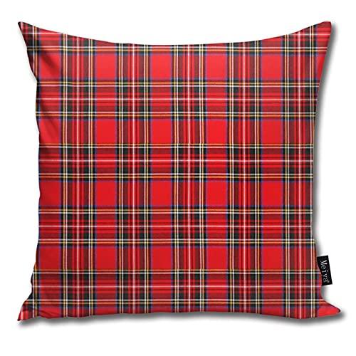 QUEMIN Red and Black Tartan Pattern Soft Cushion Cover Pillowcases Throw Pillow Decor Pillow Case Home Decor 18 X 18 Inch/45 X 45cm