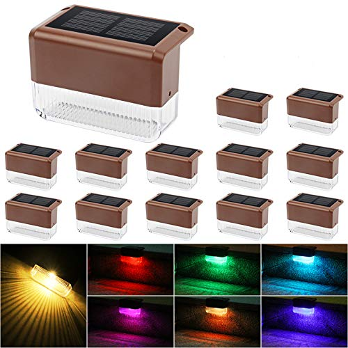 Solar Step Lights iThird 3 LED Solar Powered Stair Lights Stainless Steel Outdoor Lighting for Deck Paths Patio Auto On//Off Waterproof 4 Pack