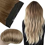 Fshine Fish line Hair Extensions Golden Brown Halo Hair Extensions Real Human Hair Straight Brazilian Hair for Women 18 Inch Secret Wire with Clips Color 10 Fading to 14 Medium Golden Blonde 80 Gram
