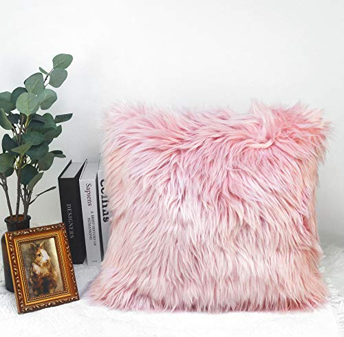 KWOS Soft Fuzzy Faux Fur Pillow Cover Decorative Fluffy Plush Sham Throw Pillow Covers Shaggy Square Cushion Case Furry Pillows for Couch Sofa Bedroom (16x16 Inch, Pink)