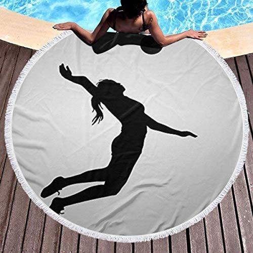 Rundes Strandtuch & Mädchen, Volleyball Spielerin Hippie Happy Youth Handtuch Extra große sandfeste Decke Yogamatte mit Quasten 59 '
