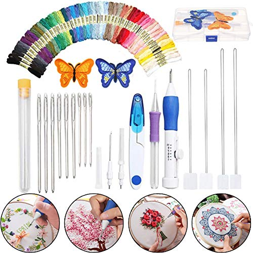 COPYLOVE Embroidery Patterns Plastic Punch Needle Kit Magic Embroidery Pen Punch Needles Set Knitting Sewing Tool for Embroidery DIY Threaders Sewing Good for Beginner