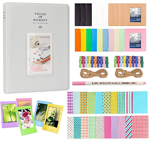 Anter Photo Album Accesorios para Fujifilm Instax Mini Camera, HP Sprocket, Polaroid Zip, Snap, Snap Touch Impresora Films con Film Stickers, Album & Frame (128 Pocket, Smoky White)