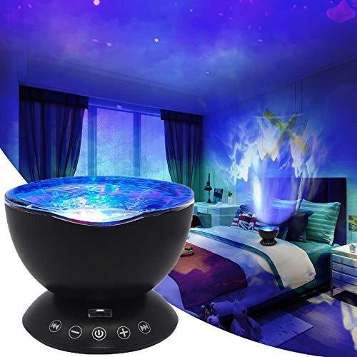 Proyector de olas de ganeed, 12 LED de control remoto de fondo marino, 7 reproductores de música camuflada LED de luz nocturna,...