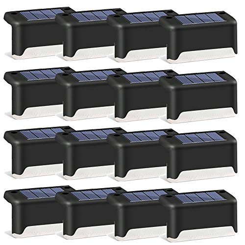 Solar Deck Lights 16 Pack LED Waterproof Solar Powered Outdoor Solar Lights for Step,Stairs , Fence Post ,Railing ,Yard ,Driveway, Porch, Path, Outside Garden Decorations(Warm)