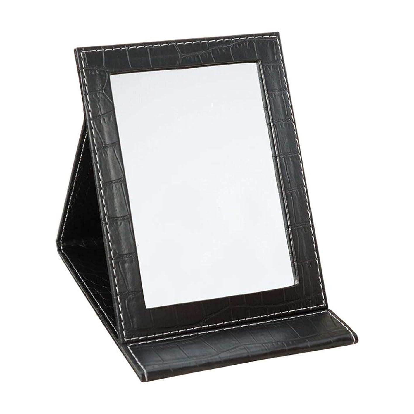 中につかまえる啓示化粧鏡、折りたたみ大型コンパクト化粧鏡、のど革フレーム - 長方形,Black