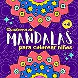 Cuaderno de mandalas para colorear niños: Libro de mandalas para colorear niños de 4 a 8 años | 40 dibujos de mandalas grandes y fáciles para pintar niñas y niños | Cuadernos para colorear infantil