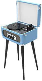 Sylvania Bluetooth Retro Turntable with Stand & FM Radio (Blue), 17.90in. X 12.30in. X 9.90in