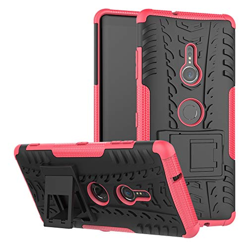 JZ Capa com design de padrão de pneu para Sony Xperia XZ3 com [Suporte] Capa traseira resistente a arranhões à prova de choque - Vermelho rosa