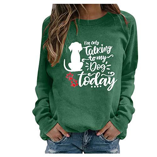 BIBOKAOKE Blusa de mujer para primavera y otoño, sudadera de manga larga, monocolor, estampado de letras, moderna, informal, cuello redondo, cálida, cómoda Verde-3 L