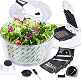 FAVIA 6 Quart Large Salad Spinner Vegetable Dryer Lettuce Drainer with Multifunctional Vegetable and Fruit Cutter Spiral Slicers 6 Interchangeable Blades BPA Free Dishwasher Safe