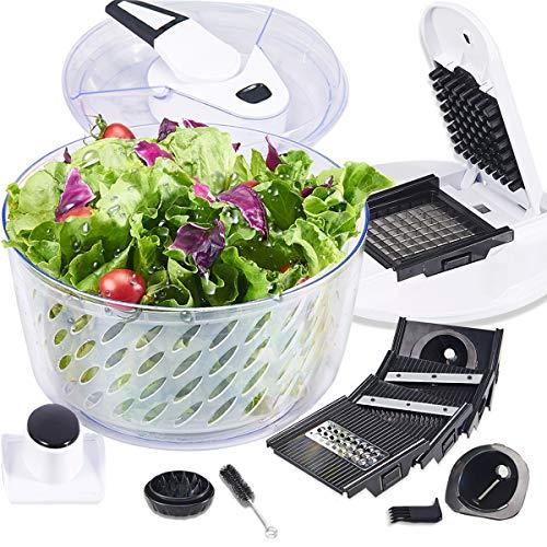 FAVIA 6 Quart Large Salad Spinner Vegetable Dryer Lettuce Drainer with Multifunctional Vegetable and Fruit Cutter Spiral Slicers 6 Interchangeable Blades BPA Free Dishwasher Safe 55L