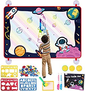 BeebeeRun Water Doodle Mat 110x75cm, Water Drawing Mat with 2 Magic Pen, 3 Stamps, 3 Mould and 1 Roller Painting Tools Edu...