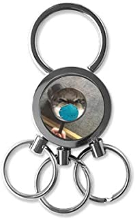 Pet Mirror Angry Head Cat Happy Stainless Steel Metal Key Holder Chain Ring Keychain