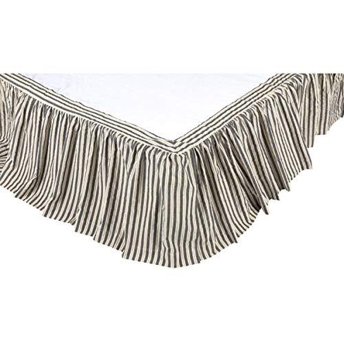 VHC Brands Farmhouse Ashmont Grey Bed Skirt, King 78x80x16