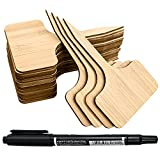 YXGOOD 50Pcs Bamboo Plant Labels with A Marker Pen T-Type Wooden Plant Sign Tags Garden Markers for Seed Potted Herbs Flowers Vegetables 2.3 x 4 inch (50)