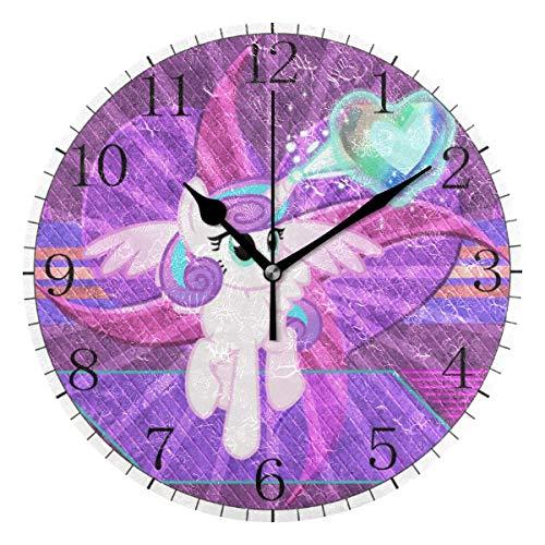 niushan My Little Pony Heart Anime - Reloj de pared de estilo redondo, silencioso, sin tiro, funciona con pilas, decoración para la cocina, habitación de los niños y café (10 pulgadas)