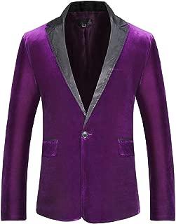 Sodossny-AU Mens Fashion Slim Solid One Button Velvet Blazer Suit Jacket Coat