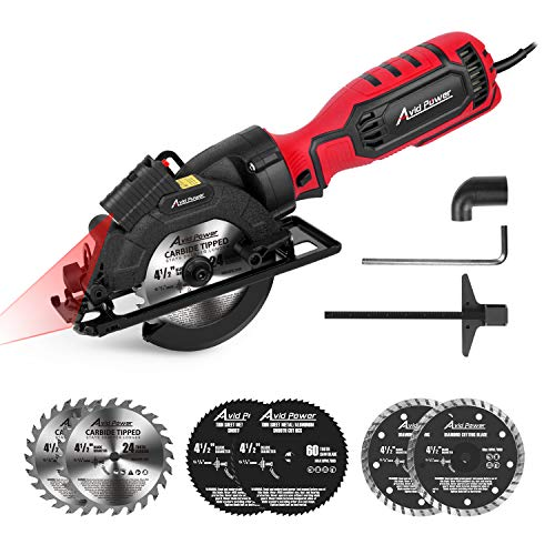 Avid Power Circular Saw, 4-1/2' Compact Electric Circular Saw 6.2A with 6Saw Blades, Laser Guide, Scale Ruler, Ideal for Wood, Soft Metal, Tile, and Plastic Cuts