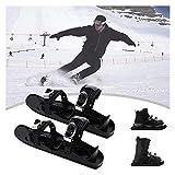 TYUIOO TRACTORES DE ICE DE TRACCIÓN, PIEZAS DE NIEVE DE ICE Mini patines de esquí para la nieve, zapatos de patines portátiles para nieve, equipo de deportes de invierno Zapatillas de esquí de la tabl