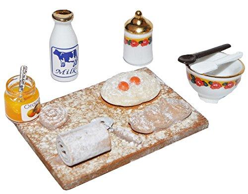 alles-meine.de GmbH Miniatur Kekse Backen Backblech - Maßstab 1:12 Porzellan / Kermik - Reutter - Puppenhaus Küche Marmelade Eier - für Puppenstube
