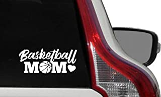 Mom Basketball Heart Car Vinyl Sticker Decal Bumper Sticker for Auto Cars Trucks Windshield Custom Walls Windows Ipad Macbook Laptop Home and More (WHITE)