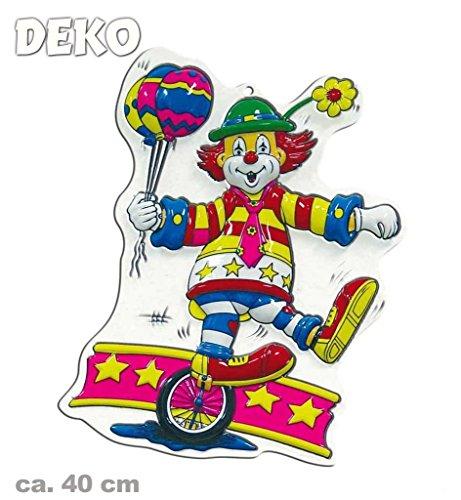 KarnevalsTeufel Wandbild Clown mit Einrad, Höhe ca. 40 cm, Wand-Deko, Dekoration