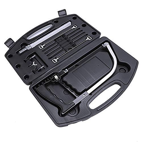 XiaoOu Scies pour Le Travail du Bois 11 en 1 scie à Main Bricolage scie Multifonction scies à Main Coupe métal Bois Verre Plastique Caoutchouc 9 Lames avec boîte Noir, Noir