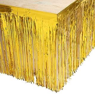 Set of 2 Gold 29x108-Inch Metallic Foil Fringe Table Skirt Banner