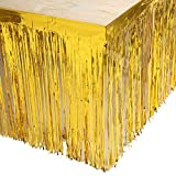 Set of 2 Gold 29x108 Inch (9 Feet Long) Metallic Foil Fringe Table Skirt, Tinsel Disposable Skirting for Parade Floats Trailer, Mardi Gras Party, Birthday, Baby Shower, Wedding