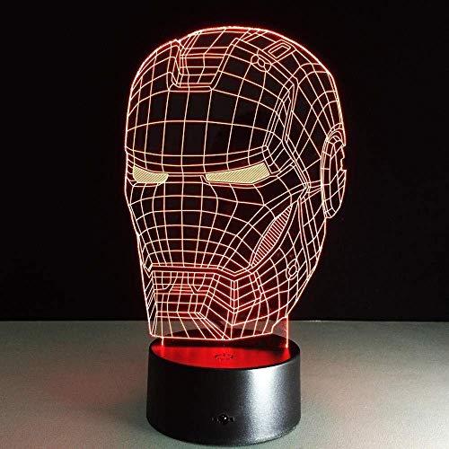 Super Hero 3D Lámpara Led Night Light Iron Man Mascarilla Figura de acción 7 colores Decoración de mesa táctil Luz Ilusión óptica