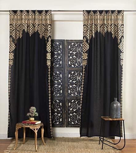"""Madhu International Set of 2 Bohemian Curtains - Handmade Cotton Indian Tapestry Curtains - Curtain Drape With Rod Pocket - Floral Printed Mandala Curtain Panel for Living Room - Black Gold, 41"""" X 87"""""""