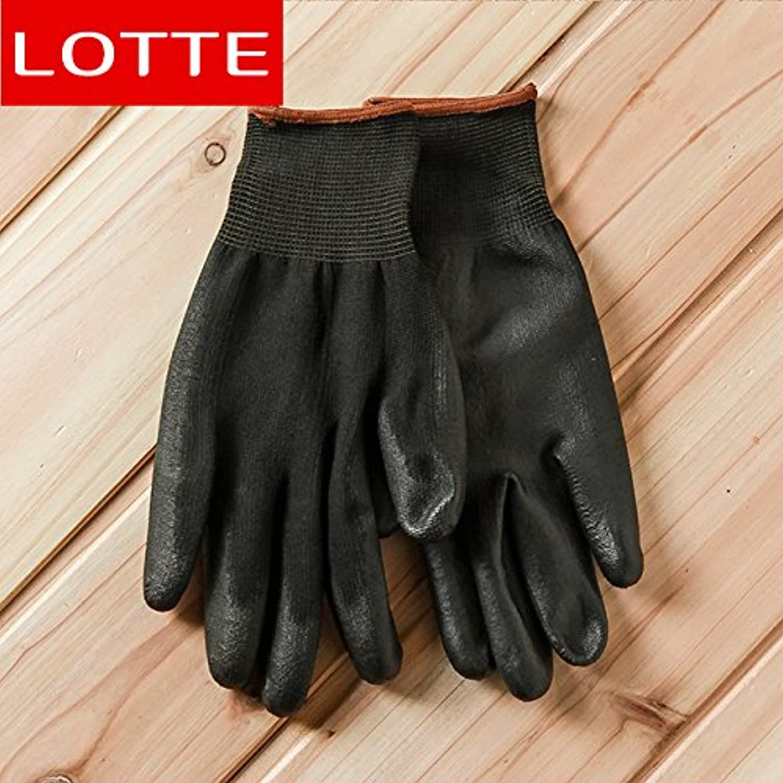 痛み中級扱うVBMDoM ロッテのPUパームコーティング作業手袋(黒/大) x 3つ [並行輸入品]