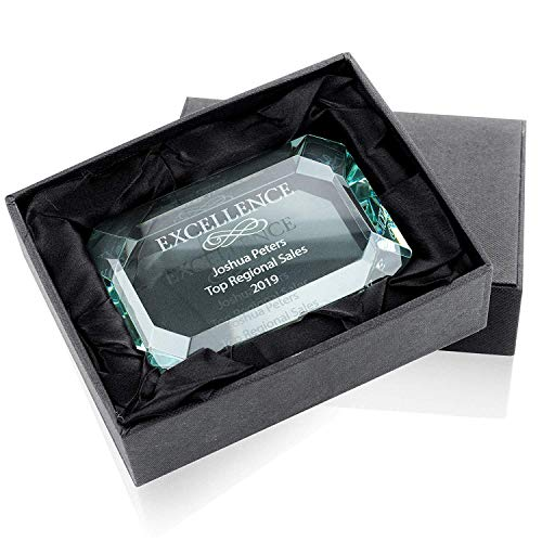 Personalized Jade Glass Paperweight Employee Appreciation Gifts - Boosts Employee Morale, Motivation, & Positive Work Environment - Engraved Text, Elegant Black Gift Box - Staff Appreciation Gifts