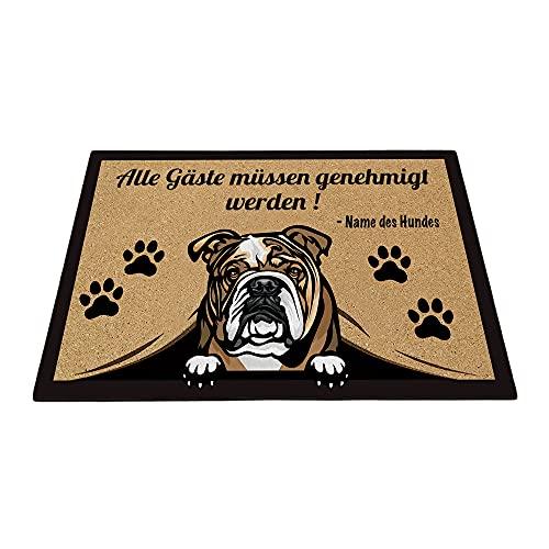 BAGEYOU Benutzerdefinierte Fußmatte mit Meinem Liebeshund Englische Bulldogge Alle Gäste müssen genehmigt Werden Bodenmatte 60 x 40 cm