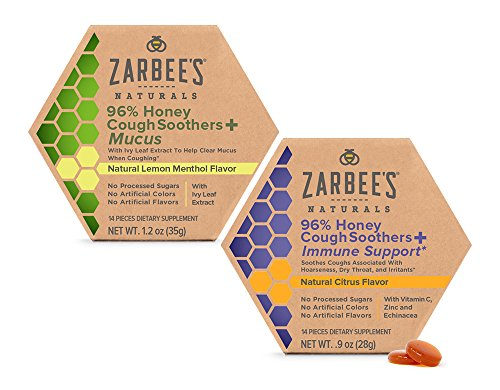 Zarbee's Naturals 96% Honey Cough Soother + Immune Support* & 96% Honey Cough Soother + Mucus 28Count (Pack of 2) Simply Made with Honey & Natural Flavors