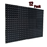 12 Pack Acoustic Foam Panels Soundproofing Studio Foam Wedge Tiles Fireproof 2' X 12' X 12'