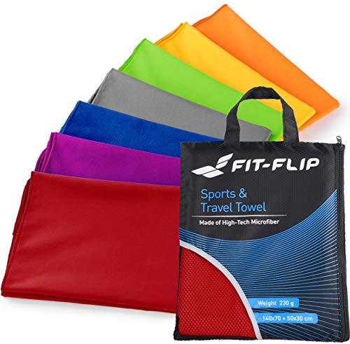 Fit-Flip 100x200cm - 1 Stück/Rot, mikrofaser Handtuch 200x100 Badetuch groß 150x200 Strandtuch microfaser mikrofaserhandtücher Premium microfaser Handtuch