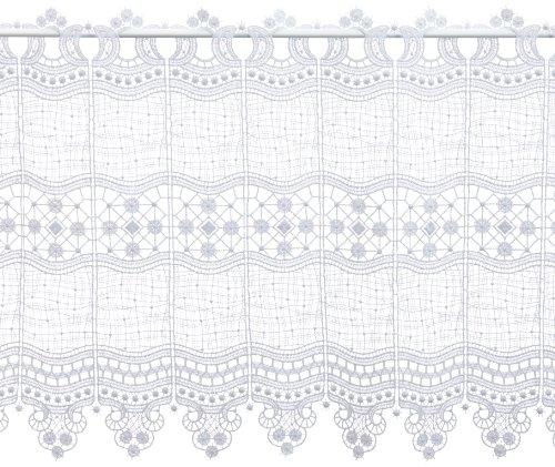 Plauener Spitze by Modespitze 69348_45, Tendine in Pizzo, 100% Poliestere, Altezza 45 cm, Bianco, Larghezza 96 cm