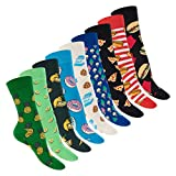 Footstar Damen und Herren Bunte Motiv Socken (9 Paar), Lustige Baumwoll Socken - Food 36-40